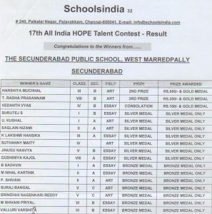 Schools india 17th All India HOPE Talent Contest Result